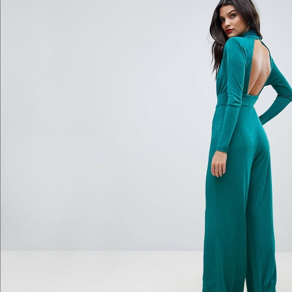 ASOS Pants - ASOS teal wide-leg jumpsuit